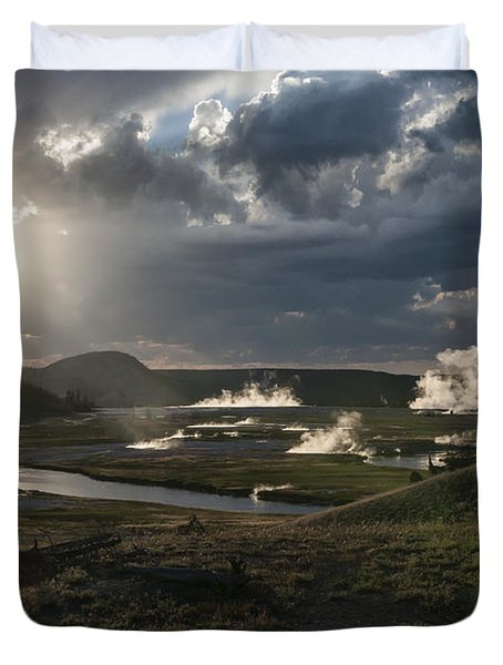 Sunset Over The Firehole River - Yellowstone Duvet Cover by Sandra Bronstein