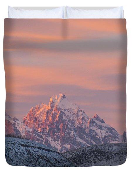 Sunset Over The Grand Tetons Duvet Cover