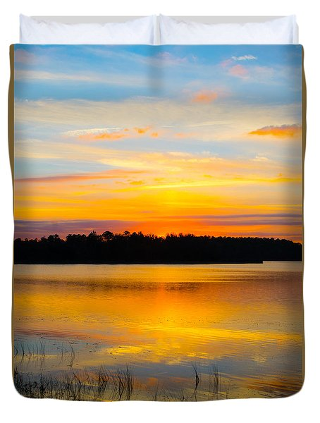 Sunset Over The Lake Duvet Cover by Parker Cunningham