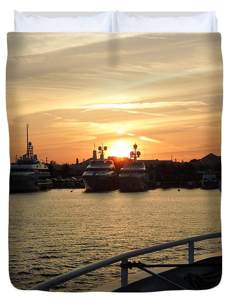 Duvet Cover featuring the photograph Sunset Over The Marina by Ron Davidson