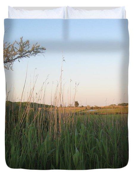 Sunset Over The Marshlands Duvet Cover