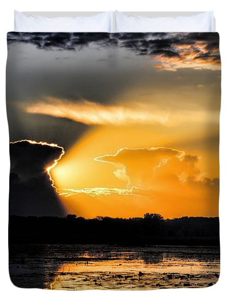 Sunset Over The Mead Wildlife Area Duvet Cover
