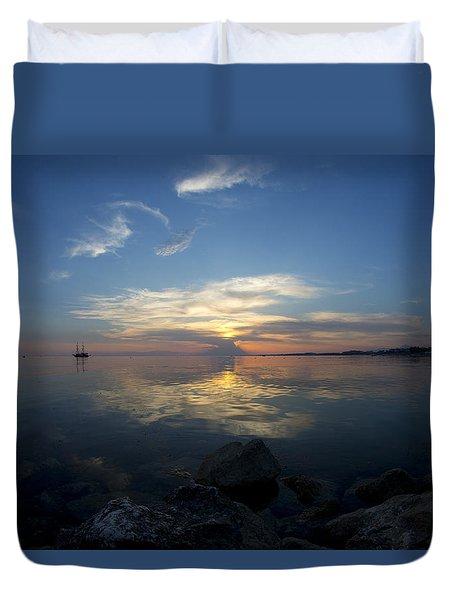 Sunset Over The Mediterranean Sea Duvet Cover