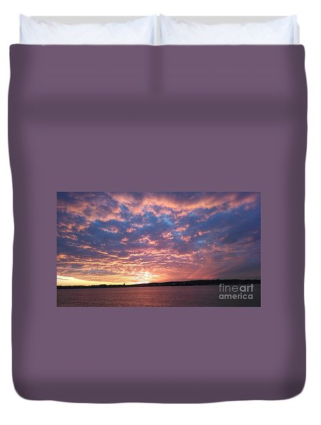 Sunset Over The Narrows Waterway Duvet Cover by John Telfer