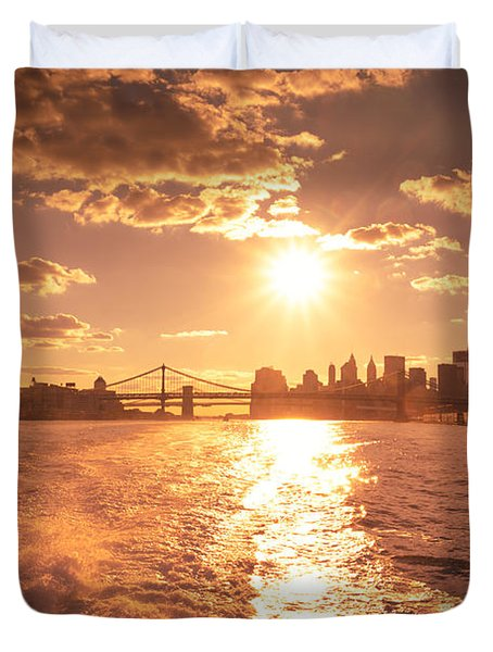 Sunset Over The New York City Skyline Duvet Cover by Vivienne Gucwa