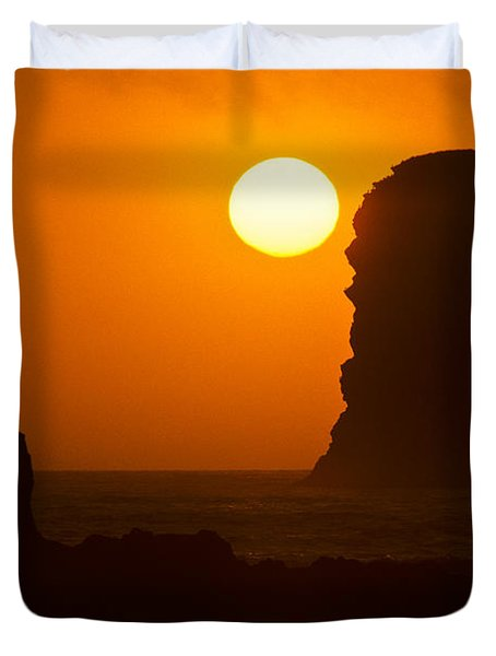 Sunset Over The Pacific Ocean With Rock Stacks Duvet Cover by Jeff Goulden