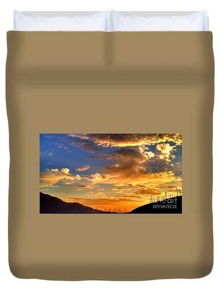 Sunset Over The Pass Duvet Cover by Chris Tarpening