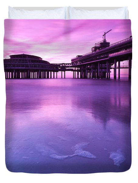 Sunset Over The Pier Duvet Cover by Mihai Andritoiu