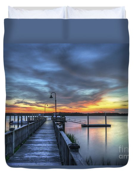 Sunset Over The River Duvet Cover