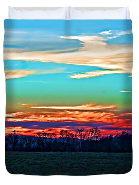 Sunset Over The Sunset Duvet Cover by B Wayne Mullins