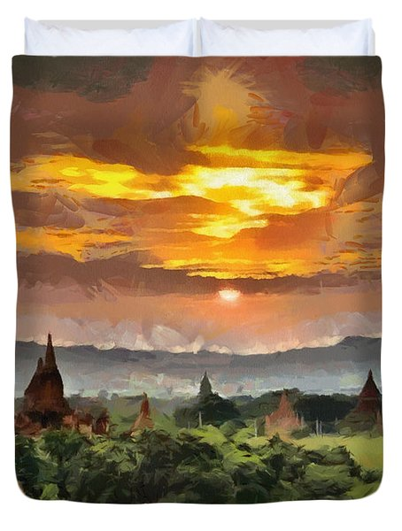 Sunset Over The Temple Duvet Cover by Georgi Dimitrov