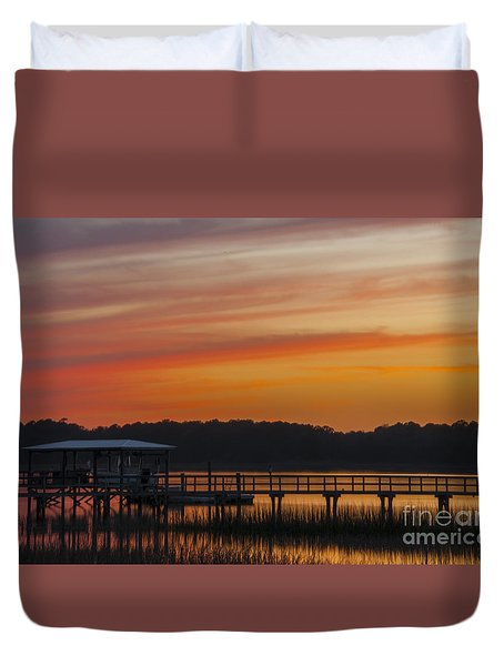Sunset Over The Wando River Duvet Cover by Dale Powell