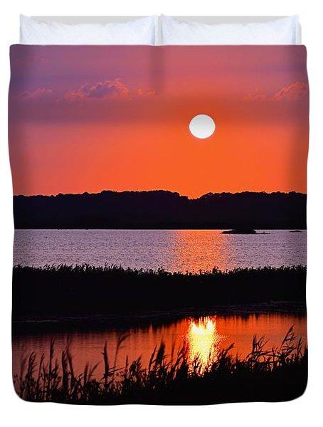 Sunset Over The Wetlands Duvet Cover