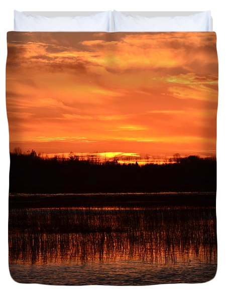 Sunset Over Tiny Marsh Duvet Cover by David Porteus