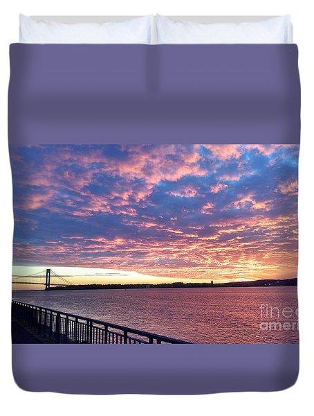 Sunset Over Verrazano Bridge And Narrows Waterway Duvet Cover
