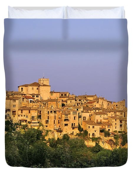 Sunset Over Vieux Nice - Old Town - France Duvet Cover by Christine Till