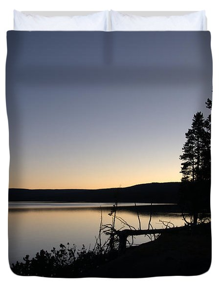 Sunset Over Yellowstone Lake Duvet Cover