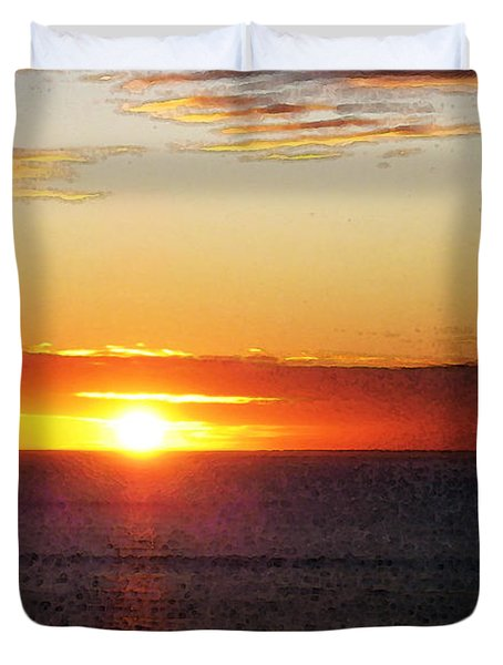 Sunset Painting - Orange Glow Duvet Cover