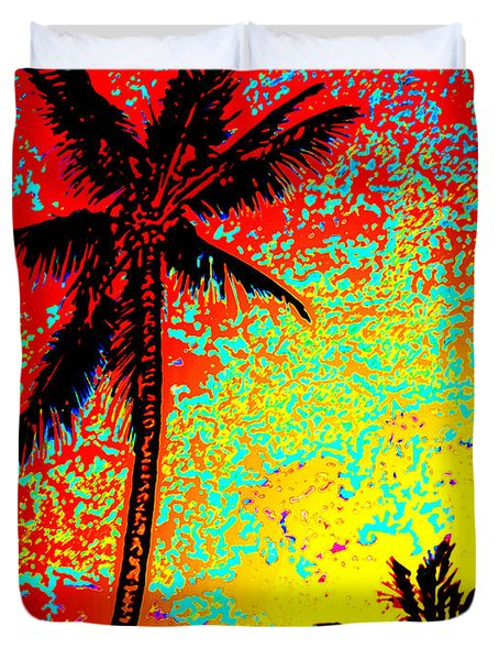 Duvet Cover featuring the photograph Sunset Palms by David Lawson