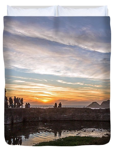 Duvet Cover featuring the photograph Sunset Party by Kate Brown