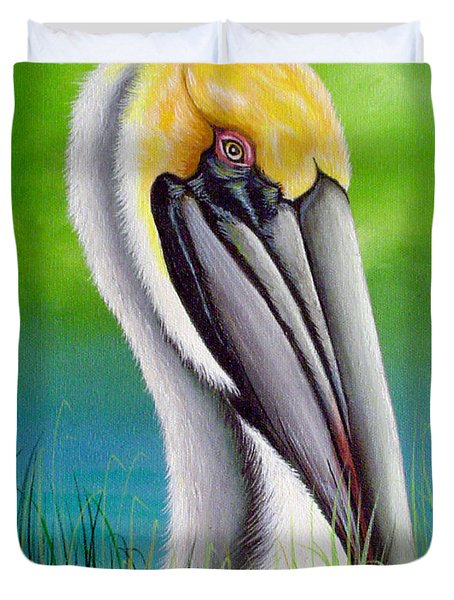 Sunset Pelican Duvet Cover