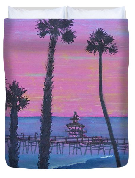 Duvet Cover featuring the painting Sunset Pier by Mary Scott