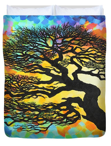Duvet Cover featuring the painting Sunset Pine by Jane Girardot