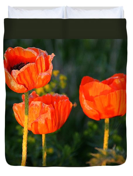 Duvet Cover featuring the photograph Sunset Poppies by Debbie Oppermann