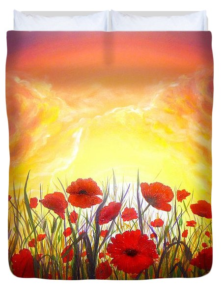 Duvet Cover featuring the painting Sunset Poppies by Lilia D