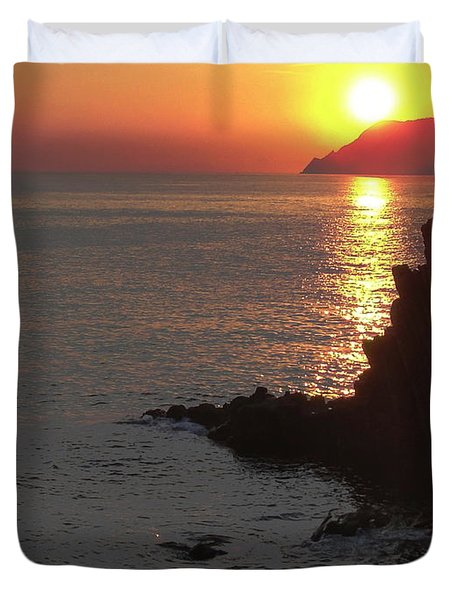 Duvet Cover featuring the photograph Sunset Reflection by Natalie Ortiz