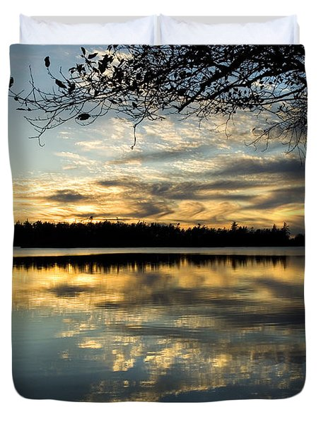 Duvet Cover featuring the photograph Sunset Reflection by Yulia Kazansky