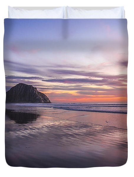 Sunset Reflections At Morro Bay Beach Rock Fine Art Photography Print Duvet Cover by Jerry Cowart