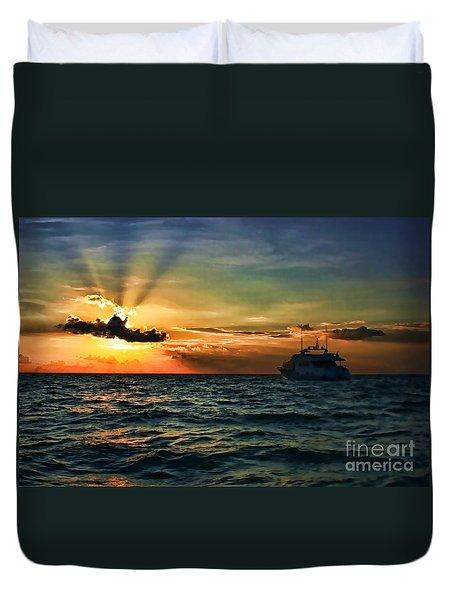 Sunset Regatta  Duvet Cover