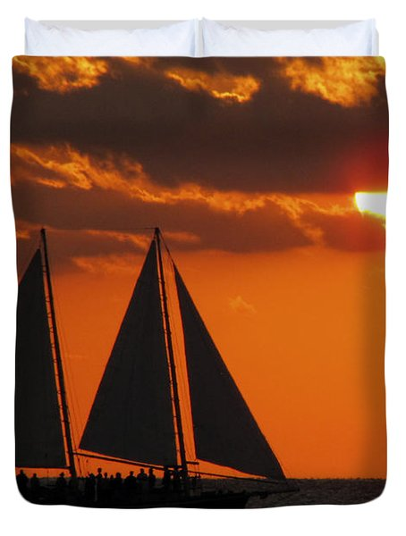 Key West Sunset Sail 3 Duvet Cover