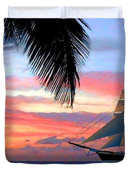 Sunset Sailboat Filtered Duvet Cover