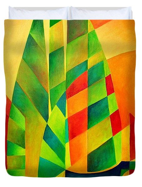 Duvet Cover featuring the painting Sunset Sails And Shadows by Tracey Harrington-Simpson