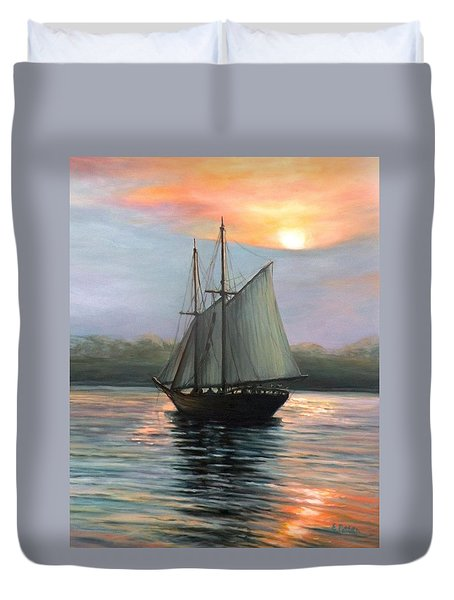 Sunset Sails Duvet Cover by Eileen Patten Oliver