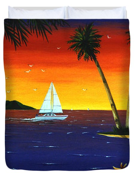 Sunset Sails Duvet Cover by Lance Headlee