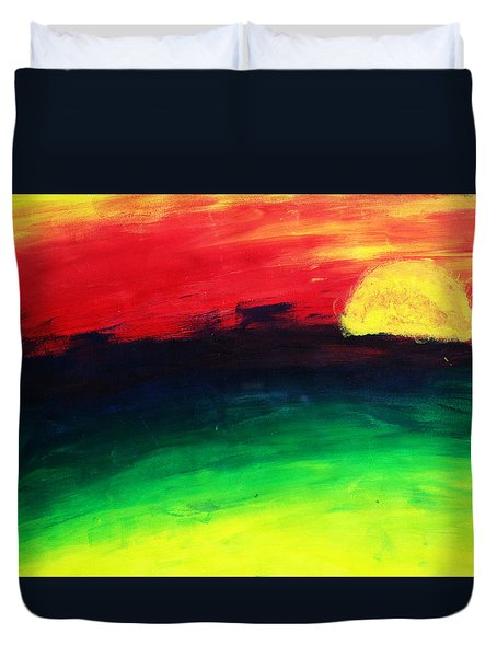 Duvet Cover featuring the painting Sunset by Salman Ravish
