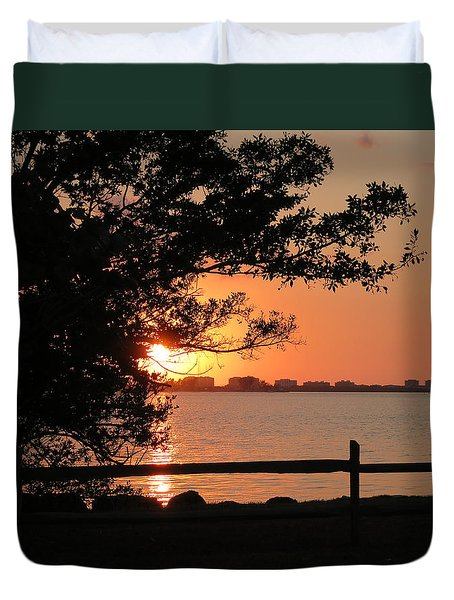 Sunset On Sarasota Harbor Duvet Cover