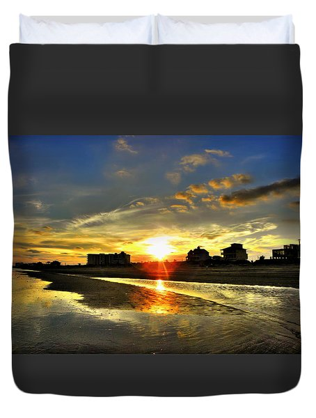 Duvet Cover featuring the photograph Sunset by Savannah Gibbs