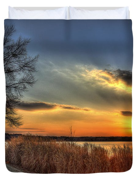 Sunset Sawgrass On Lake Oconee Duvet Cover by Reid Callaway