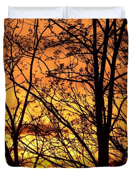 Sunset Silhouettes Behind The George Washington Masonic Memorial Duvet Cover by Jeff at JSJ Photography