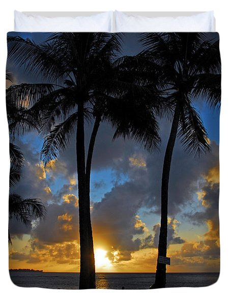 Sunset Silhouettes Duvet Cover by Lynn Bauer