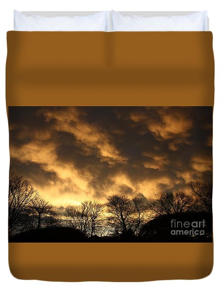 Sunset Silhouettes Duvet Cover by Nareeta Martin