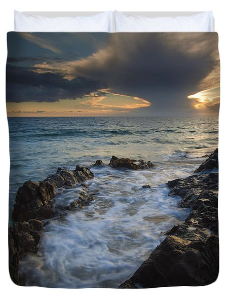Sunset Spillway Duvet Cover by Mike  Dawson