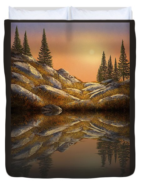 Sunset Spruces Reflections Duvet Cover by Frank Wilson