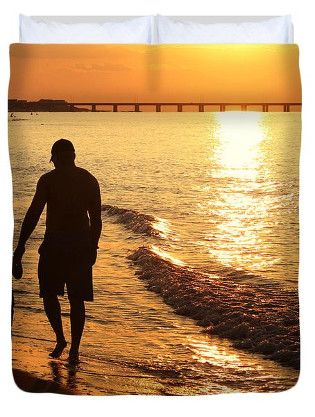 Sunset Stroll Duvet Cover