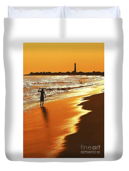 Sunset Surfer Duvet Cover