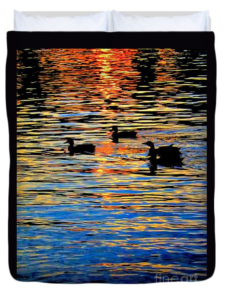 Sunset Swim Duvet Cover by Robyn King